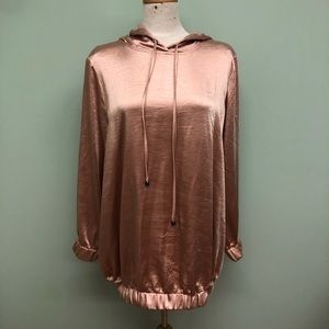Yesta Satin Hooded Sweatshirt: Rose Gold (PM1838)